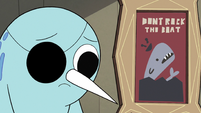 S2E22 Narwhal next to 'Don't Rock the Boat' poster