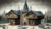 S2E18 Better Than Nothing Apartments rainy exterior