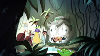 S1E14 Star, Marco, and Mr. Diaz in the jungle living room
