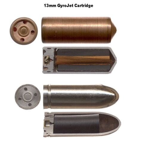 Real-world 13mm gyrojet rockets