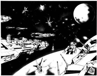 Spacefleet in battle