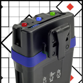 A power beltpack. Power indicators on top, plugs on bottom
