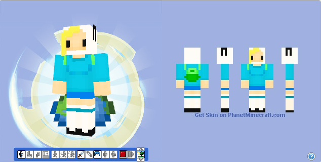 File:Minecraft skin fionna from adventure time by hermesbird04-d53j9px.png