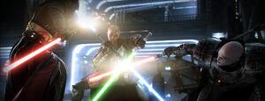 Jedi Master versus two Sith