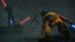 Kanan and Ezra fight the Inquisitors