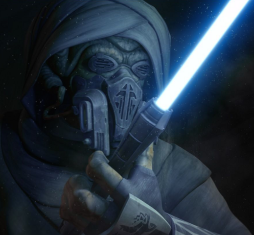 File:Plo Koon with Sifo-Dyas lightsaber.png