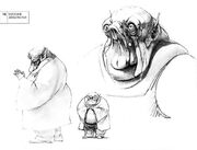 Ralph McQuarrie's early concept of Jabba the Hutt