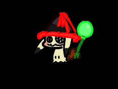 Chibi Mimikyu, wearing a party hat