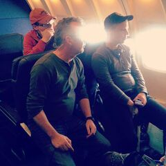 Director Chad Lowe, Writer Andrew Zuber watching the screens on board their fake airplane