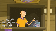 S1 E1 The staff member gets hit by the golf ball