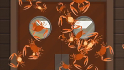 S1 E11 The Crabs Erica fired from the Cannon rain down in the Dinging Room