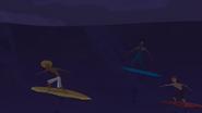 S2 E8 Reef, Broseph and Johnny surfing at night in storm