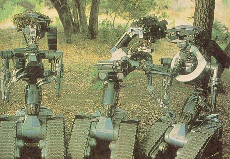 File:Three Stooges robots in Short Circuit.jpg