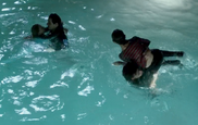The teens in the pool