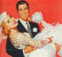 Wedding groom carry bride 1950s