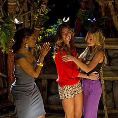 Chelsea and Sabrina congratulates Kim on her victory