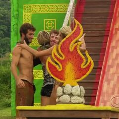 Cochran is congratulated for winning the Final Immunity Challenge.