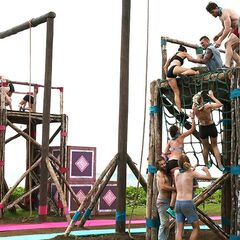 Asaga competes in the first immunity challenge.