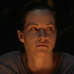Stacey at Tribal Council.