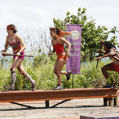 Vanua crossing the balance beam.