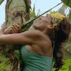 Lisa climbing a banana tree.