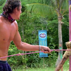 Joe competing in the first challenge of the season.