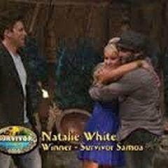 Russell hugs Natalie.