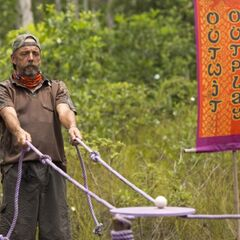 Keith competing in the second Immunity Challenge of the merge.