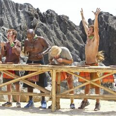 Castaways competing in the quarter-finals of the challenge.