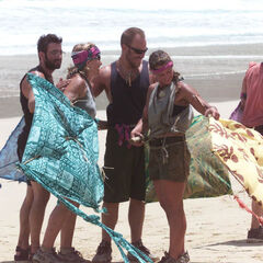 The Castaways flying their kites.