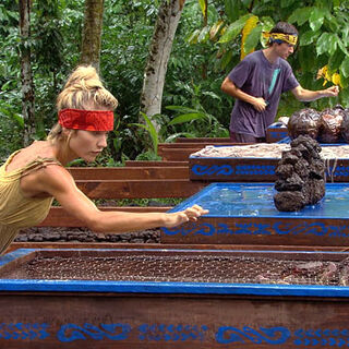 Natalie and Brett competing for immunity