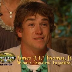 J.T. after being declared the Sole Survivor. He is the first to play a perfect game.
