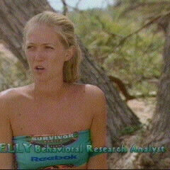 Kelly as a member of the merged tribe, <a href=