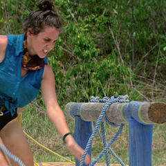 Aubry finishes untangling the rope for the women.