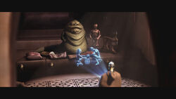 Jabba watches a misleading hologram