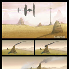 A TIE fighter crashes.