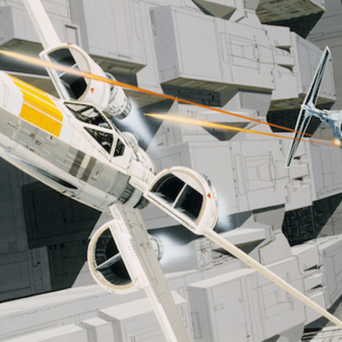 X-wing chased by a TIE fighter in the concept art for the Death Star trench run.