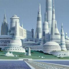 A city on Alderaan. Again, the focus on curves is evident.