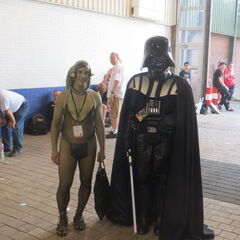 Darth Vader and a very brave Twi'lek fan.