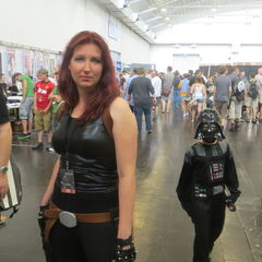 Mara Jade and a tiny Darth Vader.