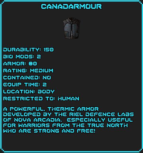 Canadarmour Data