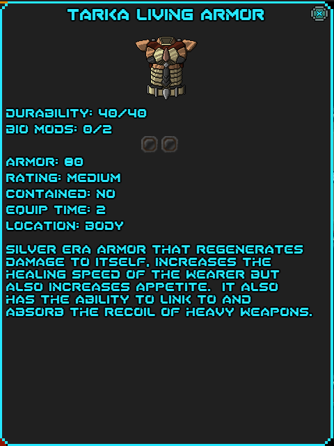 Tarka Living Armor Data