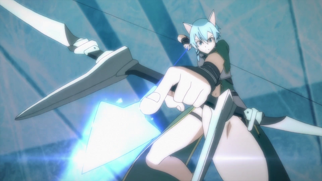 File:Sinon firing a Sword Skill arrow up-close.png