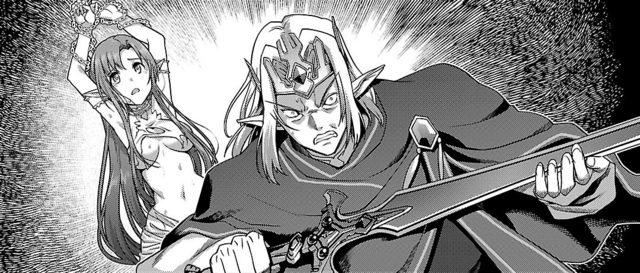 File:Oberon with Excalibur and Titania in a flashback in the Calibur manga.png