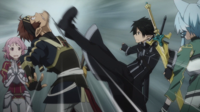 File:Kirito getting Klein to be quiet.png