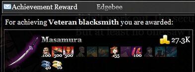 Veteran blacksmith achievement reward
