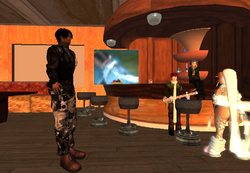 Lanya pic, Flint playing music and people around