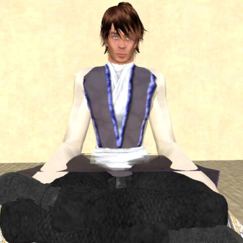Master Watts meditating at the Ac'Trayth Base on Onderon