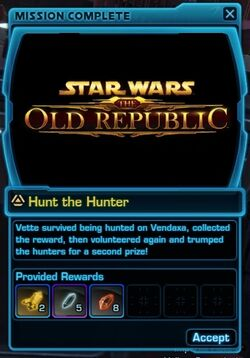 SWTOR Treasure Hunting mission complete - Hunt the Hunter