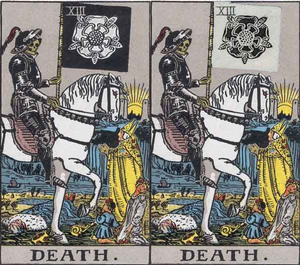 Black and white rose comparsions (tarot death card)